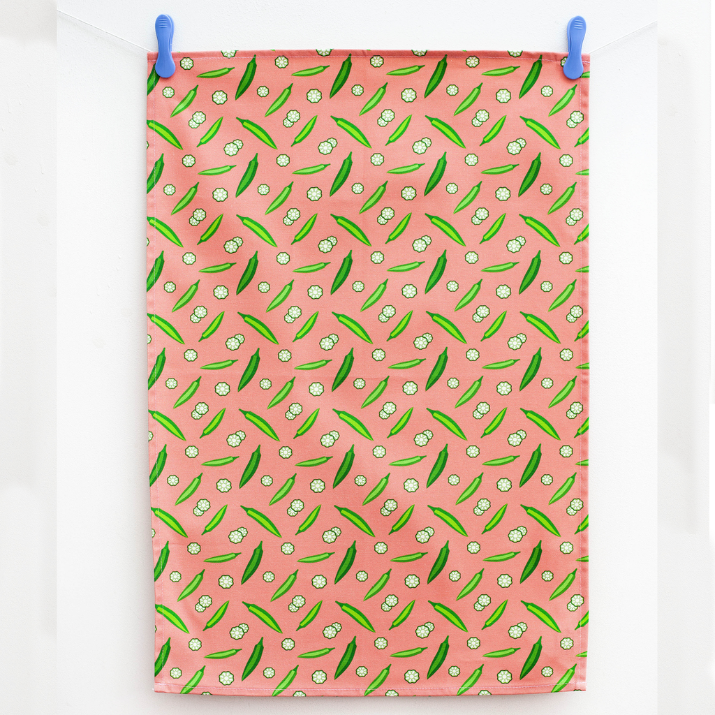 TEA TOWEL OKRA GRAPEFRUIT PINK