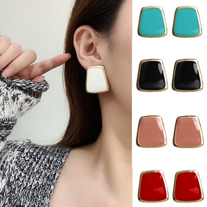 5Colors Black/White Enamel Korean Stud Earrings For Women 2019 Fashion Jewlery Simple Female Earring Oorbellen Aretes De Mujer