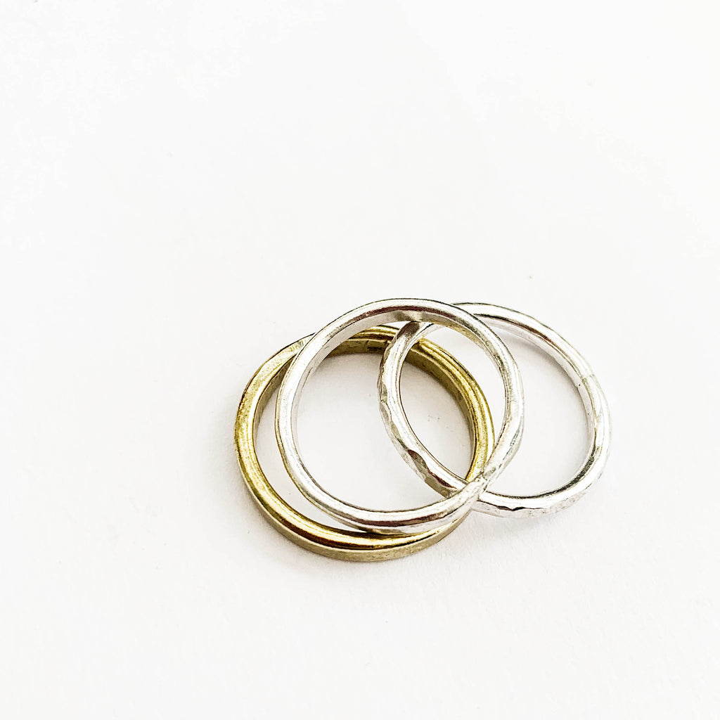 Silver and Brass Stacking Rings
