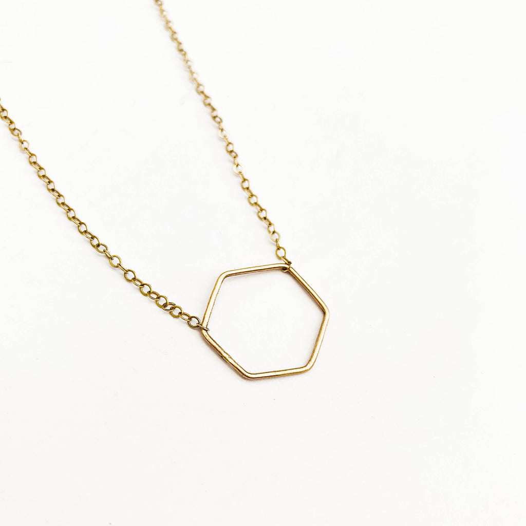 Rolled Gold Hexagon Necklace