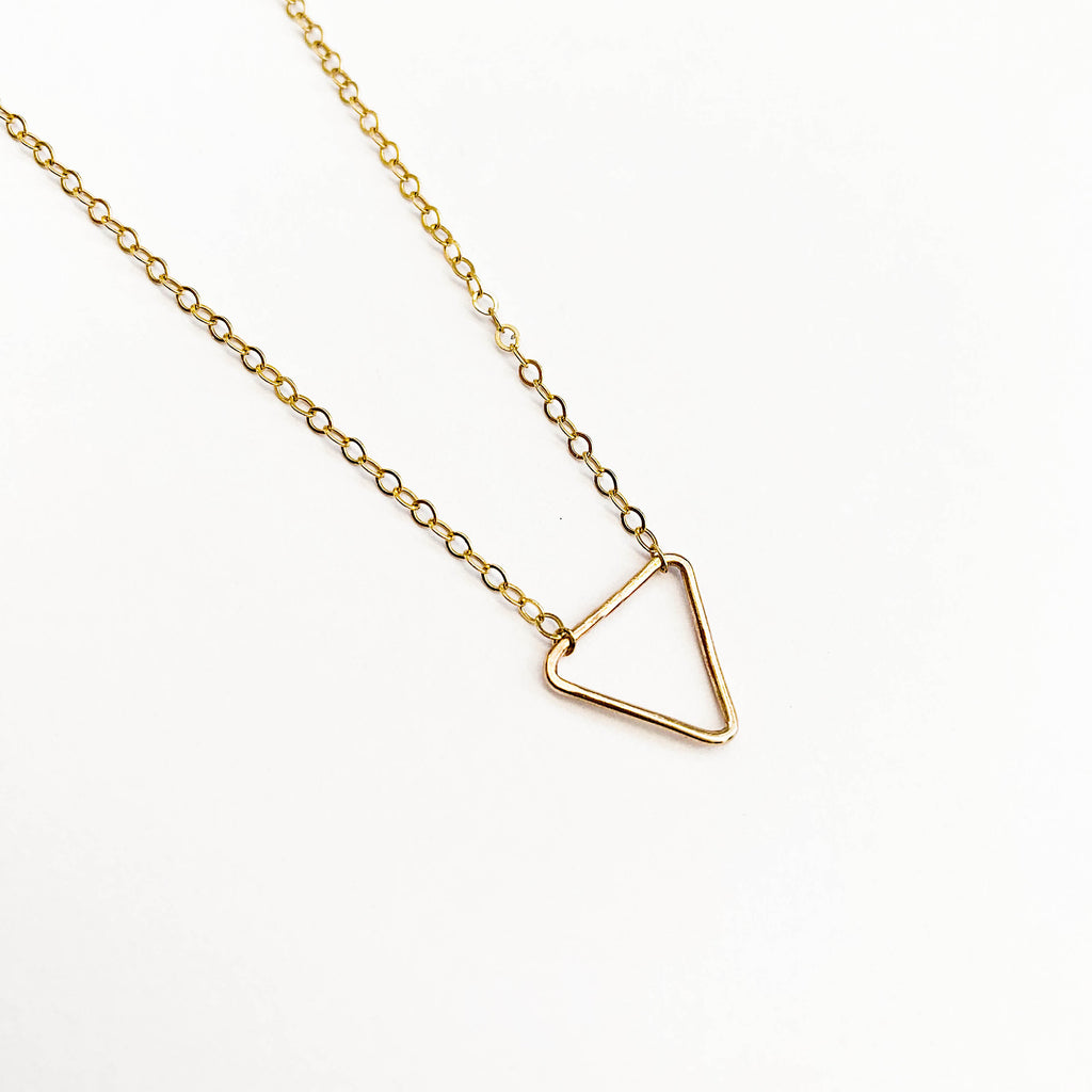 Rolled Gold Triangle Necklace