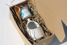 Load image into Gallery viewer, Small Salt Pig Gift Set in White with Cornish Sea Salt Pot and Bamboo Spoon