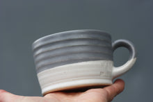 Load image into Gallery viewer, 8oz 250ml Ceramic Mug in White with Purple Grey glaze