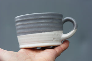 8oz 250ml Ceramic Mug in White with Purple Grey glaze