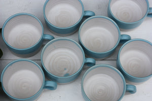 8oz 250ml Ceramic Mug in White with Blue glaze