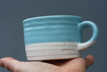 Load image into Gallery viewer, 8oz 250ml Ceramic Mug in White with Blue glaze