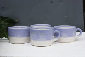 8oz 250ml Ceramic Mug in White with Purple glaze