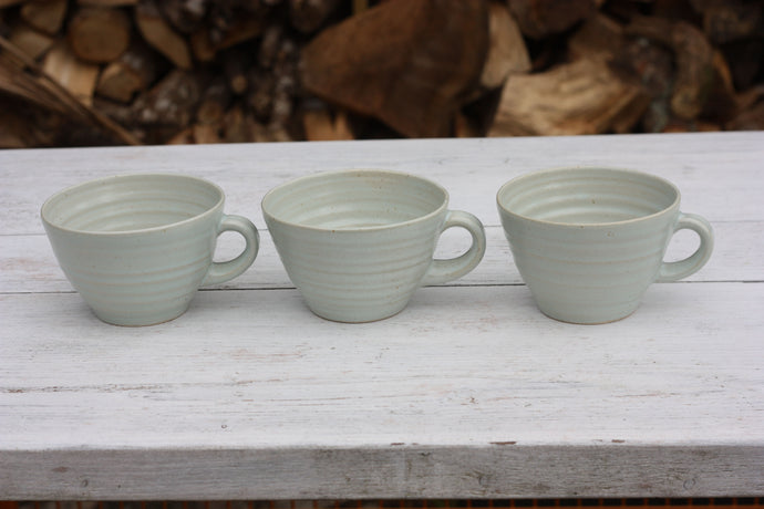 Palest Green 12oz 350ml Large Teacup Shaped Handmade Pottery Mugs