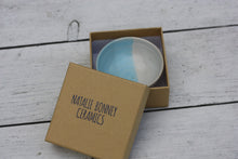 Load image into Gallery viewer, Mini Pinch Pots Three colour striped Dishes in White Blue and Soft Aqua Green glazes