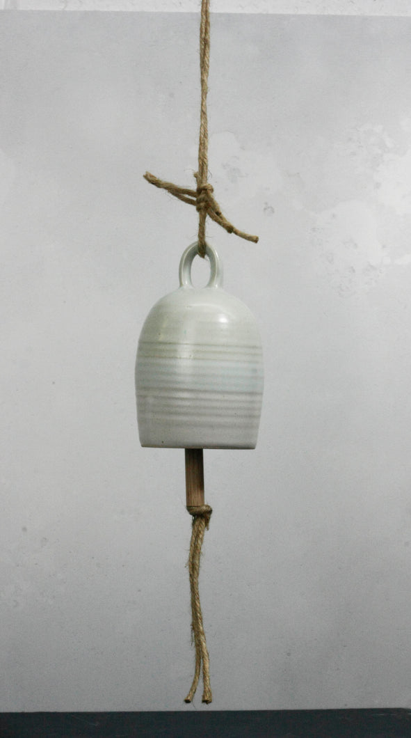Pale Green and White Ceramic Bell Hand thrown pottery