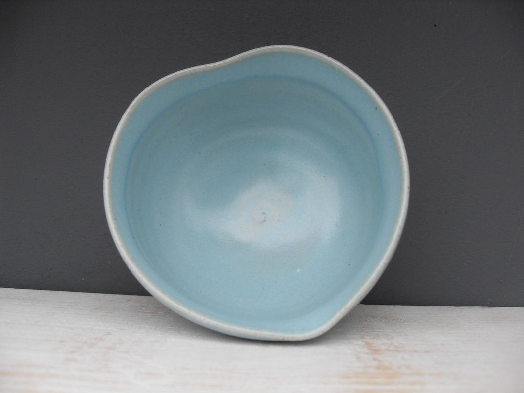 Small Gift Wrapped and Boxed Blue Stoneware Heart Dish in pale Celadon Glaze ..Wheel thrown pot