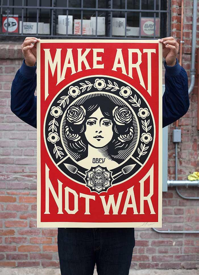 "Lithographie de Shepard FAIREY (OBEY) ""MAKE ART NOT WAR"" (Signée et datée)"