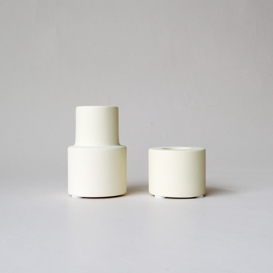 Creamy White Ceramic Taper Candle Holder