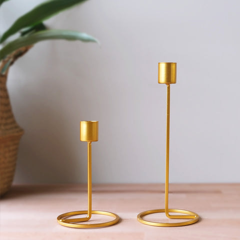 Modern Gold Candlesticks