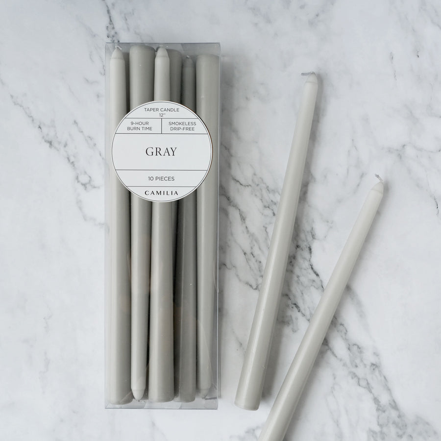 Gray Taper Candles