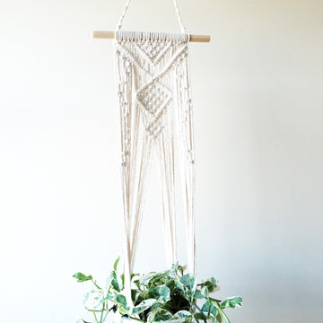 Macrame Plant Hangers with Stick and Beads