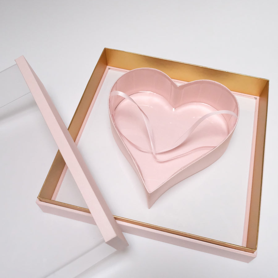 Flower Box With Acrylic Window (Heart shape)
