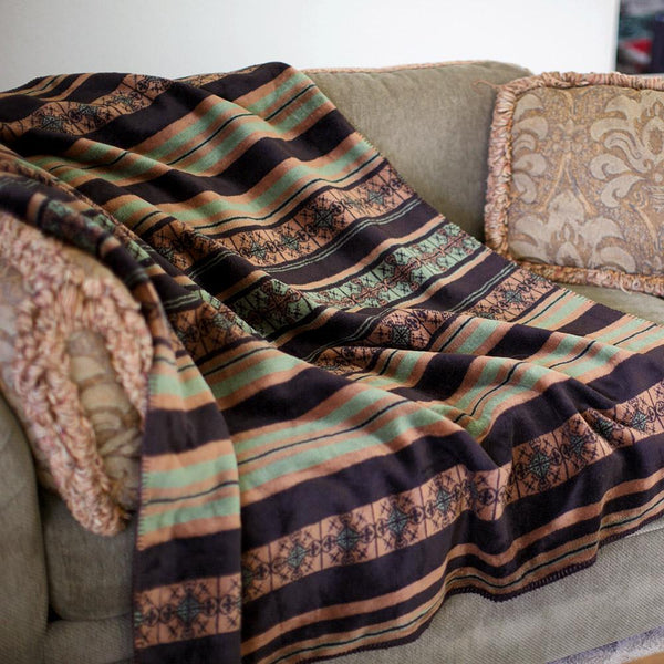 Dark Chocolate Stripe Denali Blanket - unique linens online