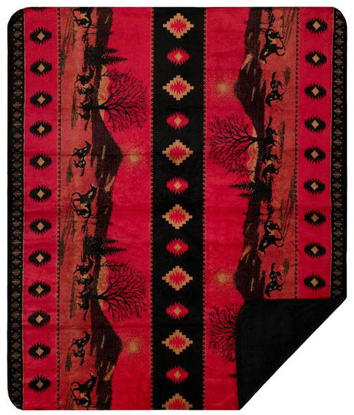 Red Running Horses Denali Blanket - unique linens online