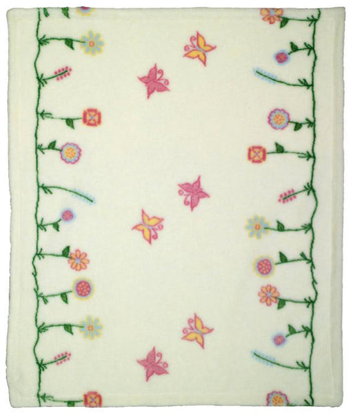 Whimsical Floral Cream Denali Baby Blanket - unique linens online