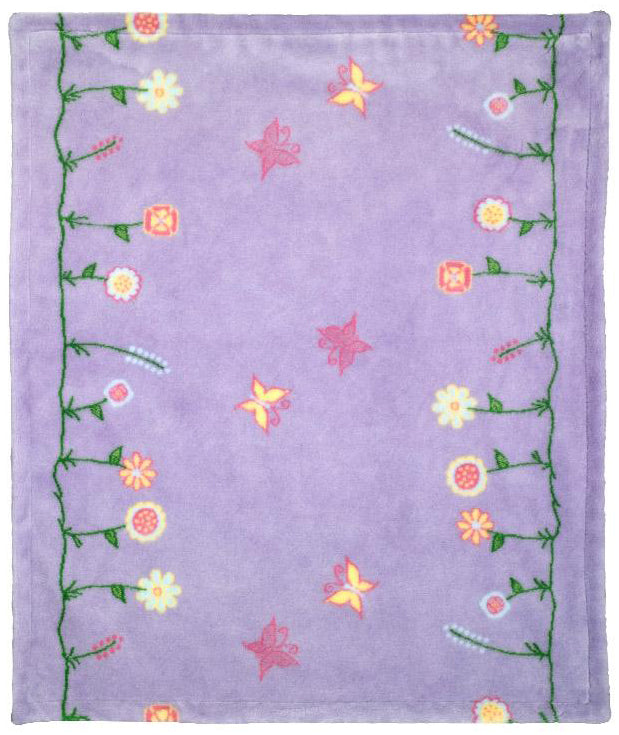 Whimsical Floral Purple Denali Baby Blanket - unique linens online