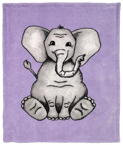Baby Elephant Purple Denali Baby Blanket - unique linens online