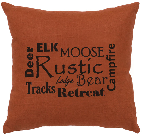 Rustic Words Decorative Linen Pillow Wooded River - unique linens online