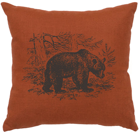 Bear Scene Decorative Linen Pillow Wooded River - unique linens online