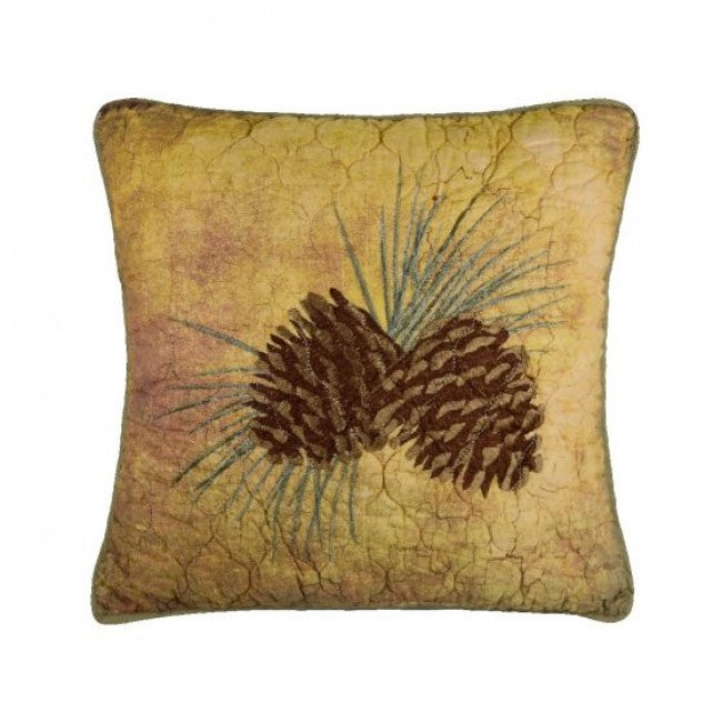 Wood Patch Pinecone Pillow - unique linens online