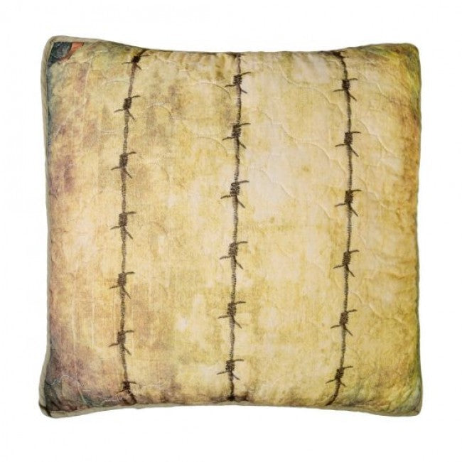 Wood Patch Barbed Wire Pillow - Unique Linens Online