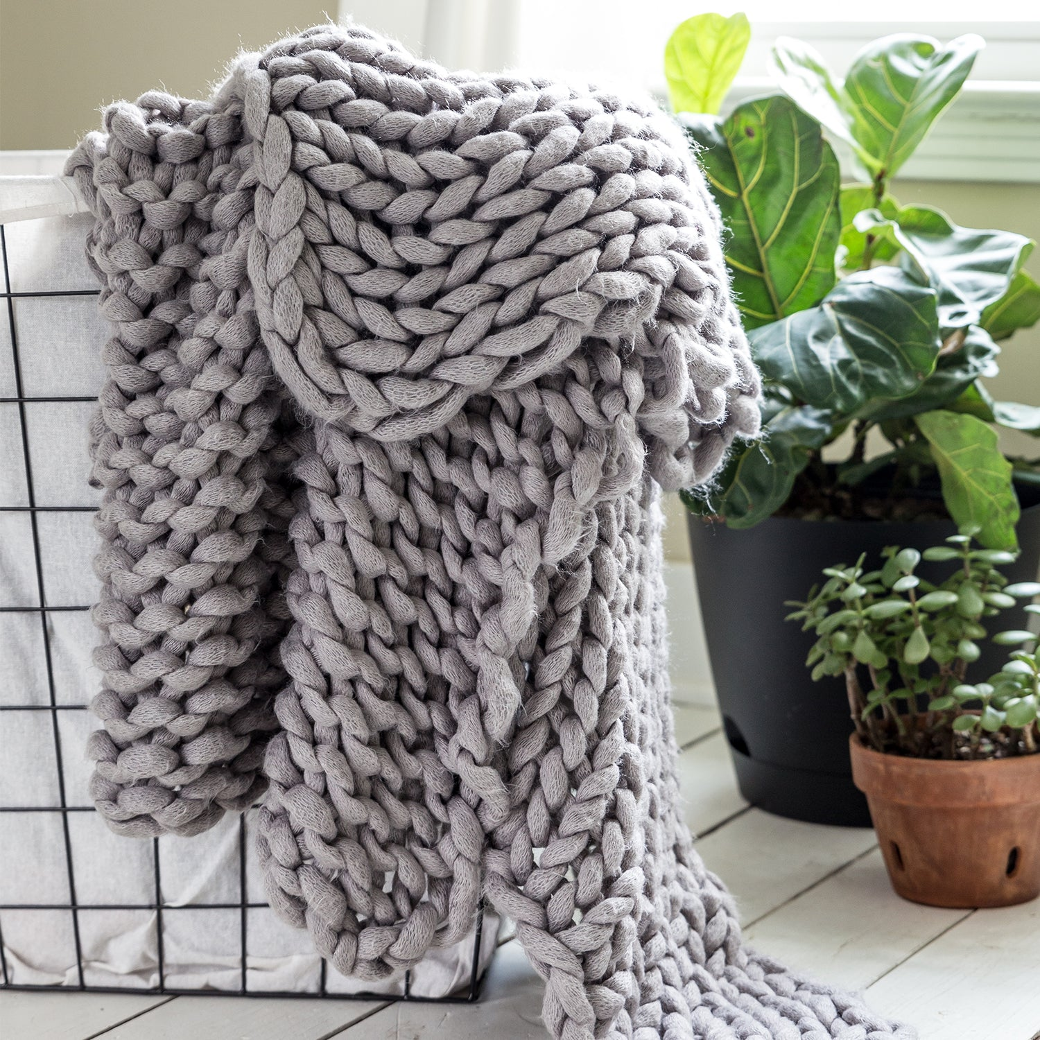Chunky Knit Grey Throw - unique linens online