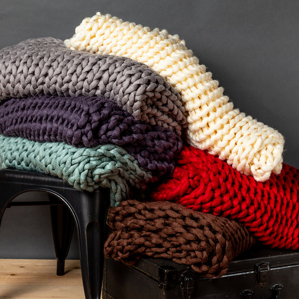 Chunky Knit Coral Throw - unique linens online
