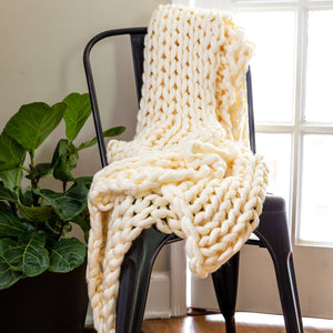 Chunky Knit Cream Throw - unique linens online
