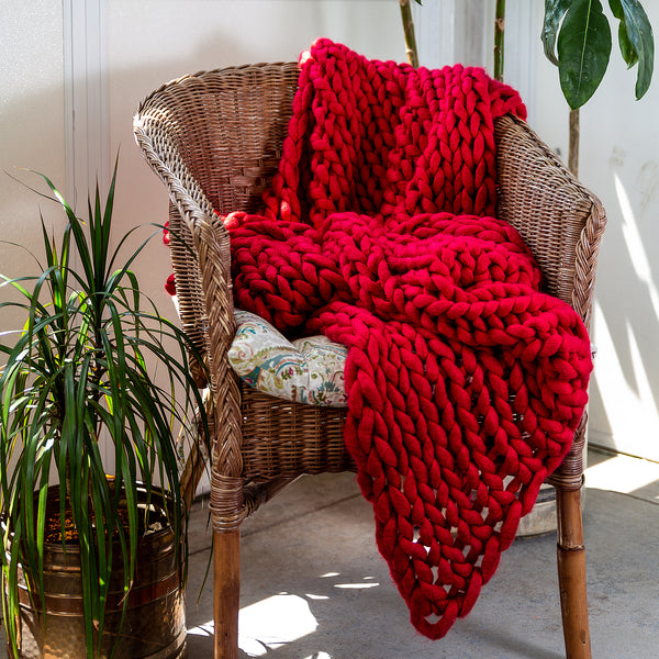 Chunky Knit Red Throw - unique linens online
