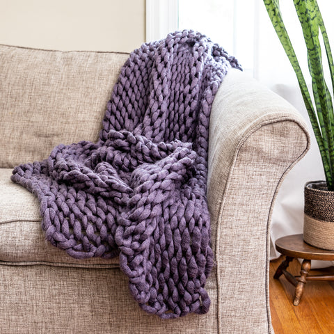 Chunky Knit Indigo Throw - unique linens online