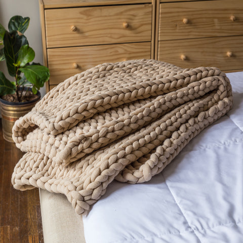 Chunky Knit Taupe Throw - Unique Linens Online