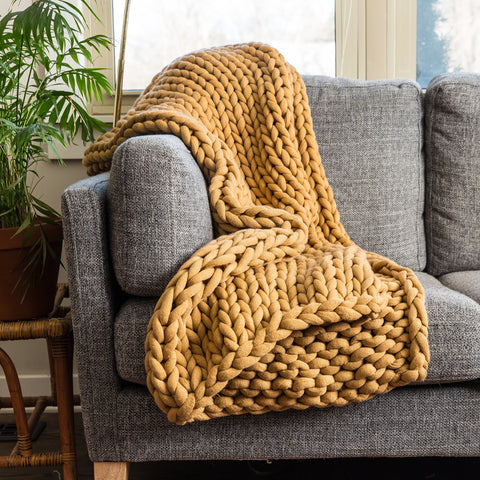 Chunky Knit Camel Throw - Unique Linens Online
