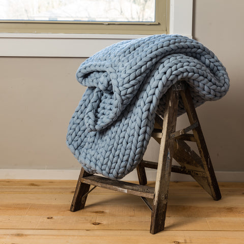 Chunky Knit Light Blue Throw - Unique Linens Online