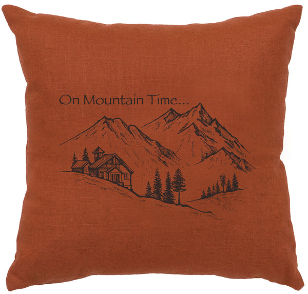 Mountain Time Decorative Linen Pillow Wooded River - unique linens online