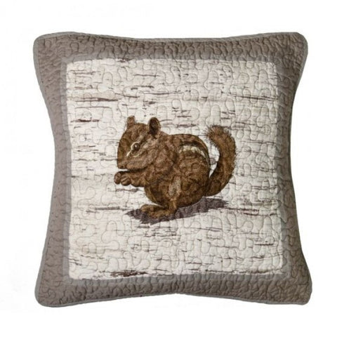 Birch Forest Chipmunk Pillow - unique linens online