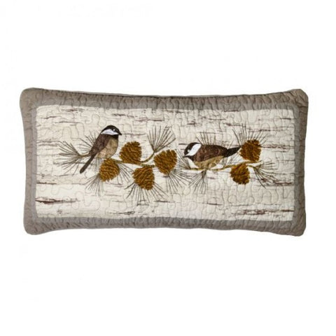 Birch Forest Chickadee Oblong Pillow - unique linens online