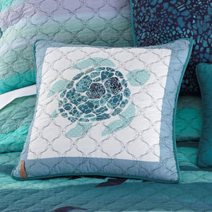 Summer Surf Quilted Turtle Pillow - unique linens online