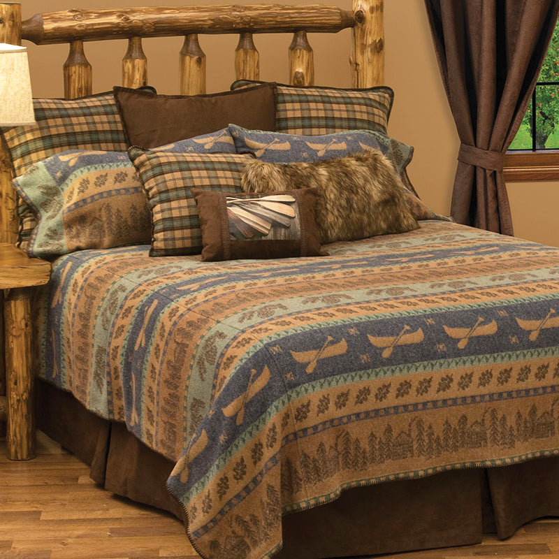Lake Shore II Bedspread Wooded River - unique linens online