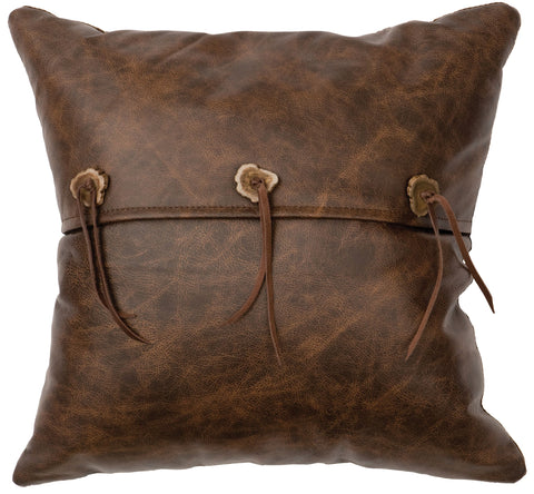 Leather Pillow Wooded River WD80243 - unique linens online