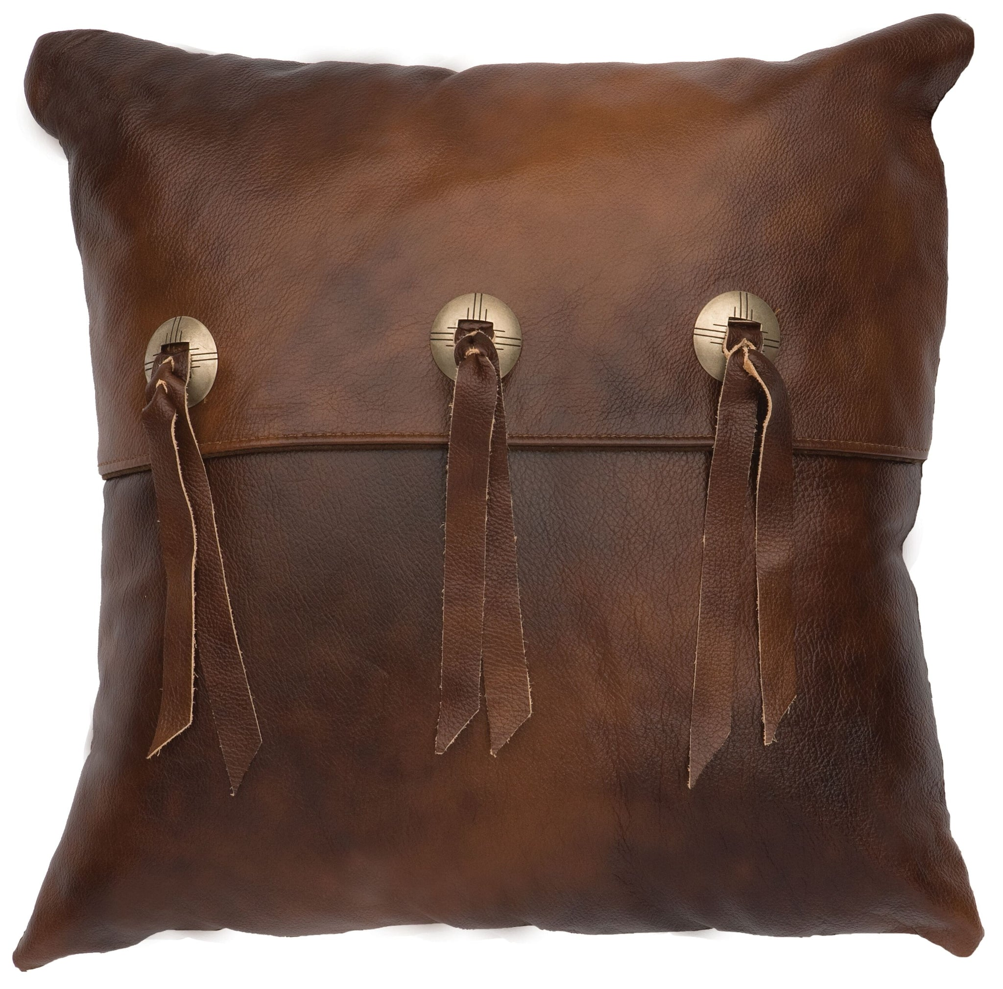 Leather Pillow Wooded River WD80217 - unique linens online