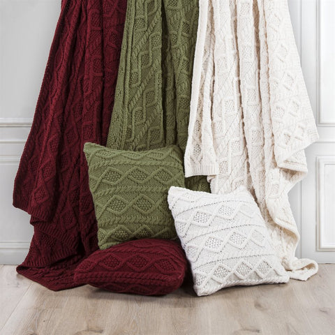 Cable Knitted Throw HiEnd Accents - unique linens online