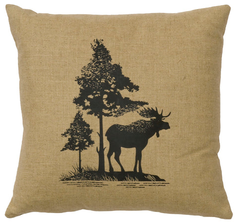 Moose Trees Decorative Linen Pillow Wooded River - Unique Linens Online