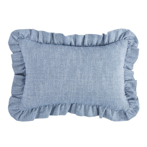 Blue Denim Ruffle Pillow HiEnd Accents - unique linens online
