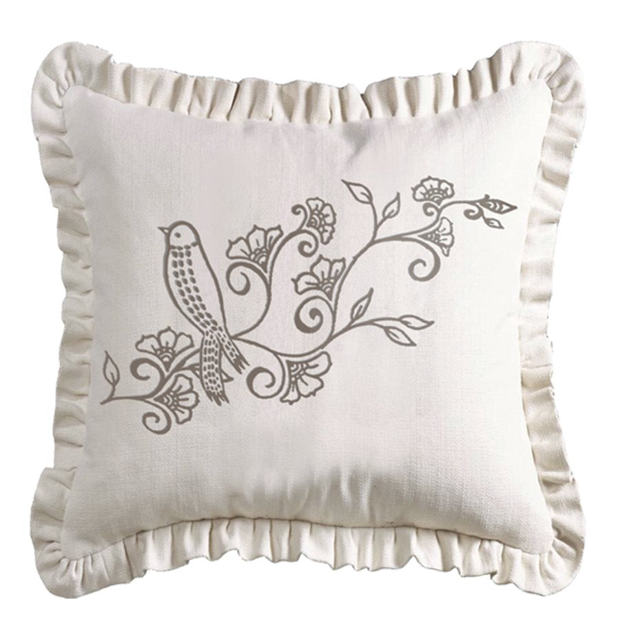 Embroidered Bird and Floral Pillow HiEnd Accents - unique linens online