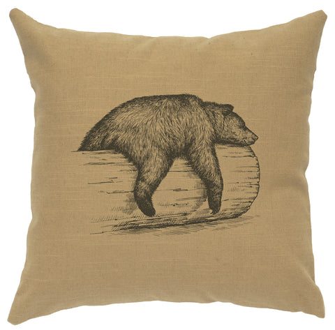 Bear on Log Decorative Linen Pillow Wooded River - Unique Linens Online